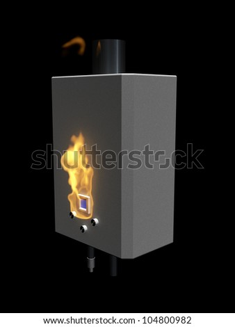 Gas boiler with flame on a black background - stock photo