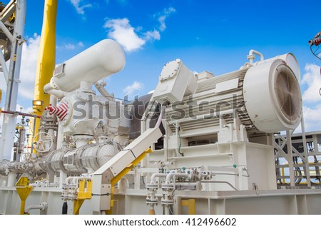 Gas booster compressor for vapor recovery unit of oil and gas central processing platform to compress waste gas and sent back to normal process to reduce sweet gas loss. - stock photo