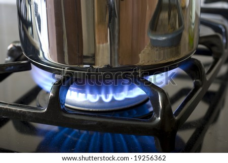 Gas burner with a pot