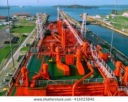 gas carrier tanker miraflores panama canal - stock photo