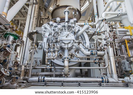 Gas compressor with piping, tubing and instrument accessories to compress gas and boost up pressure used in oil and gas and power generation industry  - stock photo