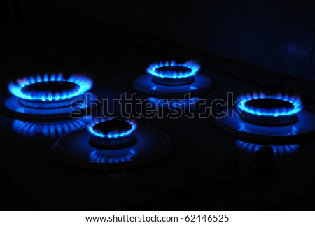 Gas cooker in action - stock photo