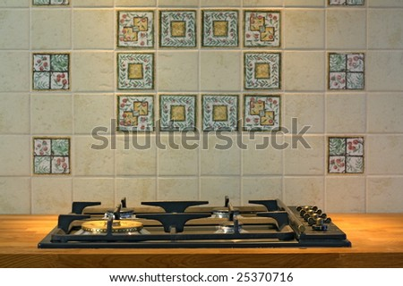 Gas cooker in the new kitchen. - stock photo