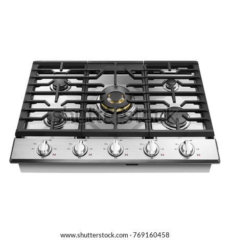 Gas Cooktop Isolated On White Background Stock Photo Image