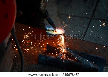 Gas cutting of the metal - stock photo
