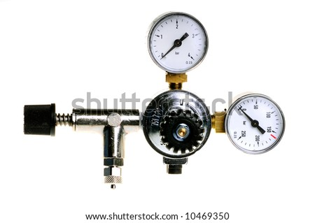 gas cylinder pressure gauge on white background - stock photo