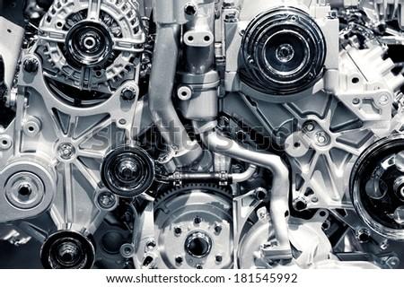 Gas Engine Closeup Background Photo. Car Engine. - stock photo
