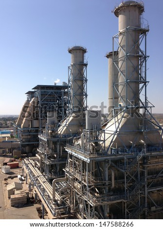 Gas fired industrial power plant - stock photo