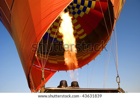 Gas flame of hot air balloon - stock photo
