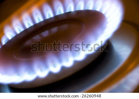 Gas flame on a kitchen hob - stock photo
