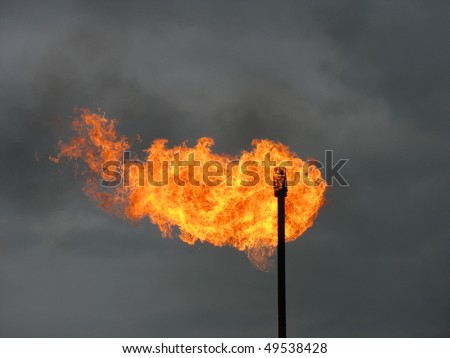 Gas flare. - stock photo