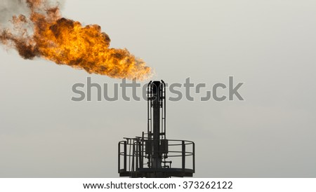 Gas flare in the oil field - stock photo