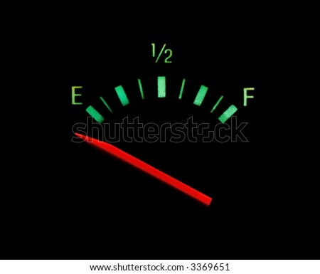 Gas gauge bright colors on empty on a black background - stock photo