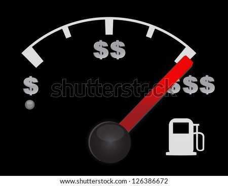 Gas gauge of a car with dollar symbols illustration design - stock photo