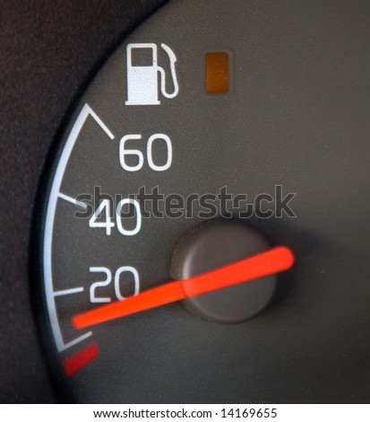 Gas Gauge showing nearly empty