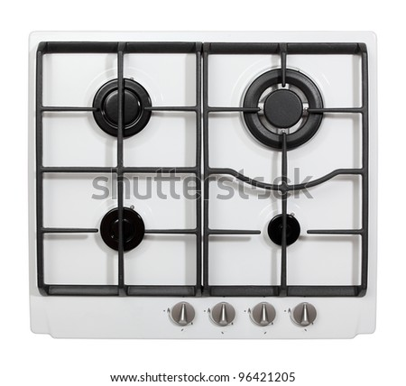 Gas hob isolated on white - stock photo