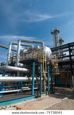 Gas industry. sulfur refinement factory - stock photo