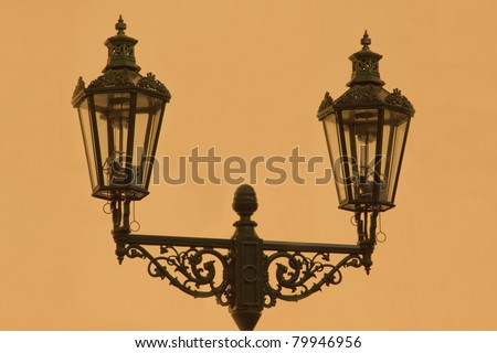 Gas Lamp Post In Prague Street