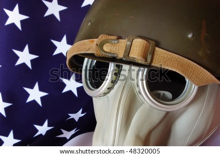 Gas mask and American Flag - stock photo