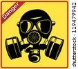 Gas mask. Danger sign - stock photo