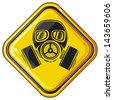 gas mask hazardous sign (gas mask warning sign, army gas mask, mask-protection in the face of the filter, protective gas mask, gas mask danger sign) - stock photo