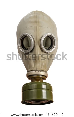 Gas mask isolated on a white background. - stock photo