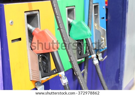 gas or fuel pump at the station on the holiday after busy at work to be the relaxing live style.