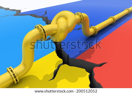 Gas pipe  tied in a knot. Concept of energy crisis. - stock photo