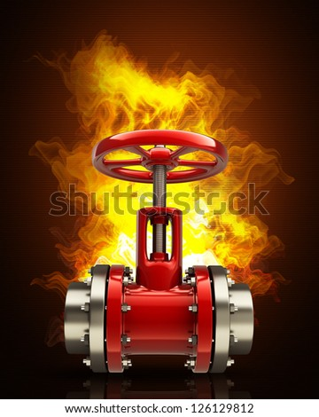 gas pipe with a red valve in Fire. High resolution. 3D image - stock photo