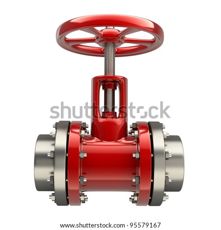gas pipe with a red valve on white background High resolution 3D