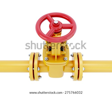 Gas pipeline element close-up with the valve isolated on white background. 3d illustration. - stock photo