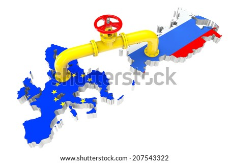 Gas pipeline over Russian and European Union maps on a white background - stock photo
