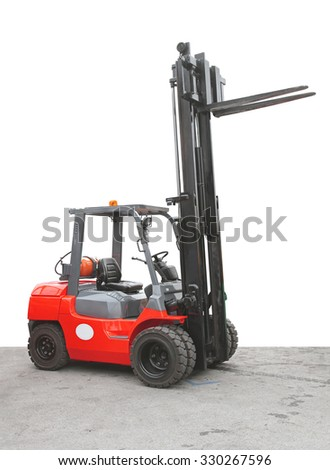 Gas Powered Red Forklift Truck - stock photo