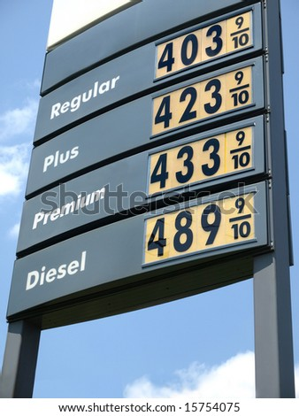Gas Price sign $4 - stock photo