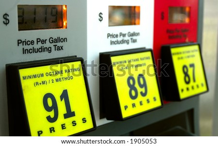 Gas prices at the pump - stock photo