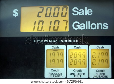 Gas prices below 2 dollars per gallon, low cost relative to summer prices in US - stock photo