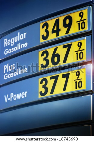 gas prices sign by a gas station in the US - stock photo