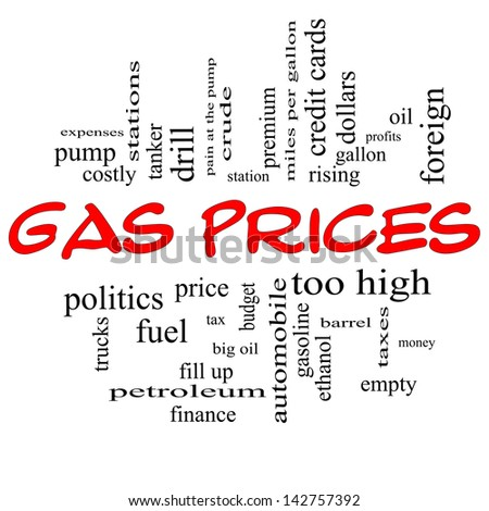 Gas Prices Word Cloud Concept in red caps with great terms such as automobile, pump, costly, gallon, price and more.