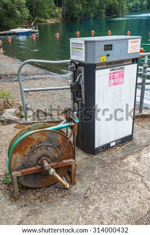gas pump for boat. - stock photo
