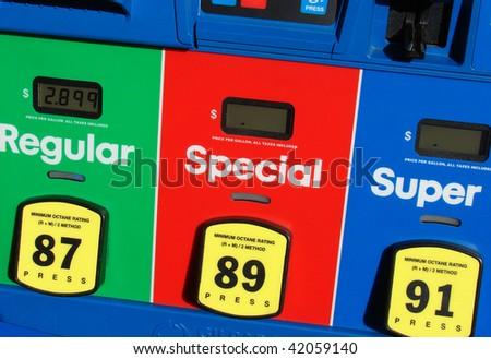Gas pump prices - stock photo