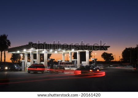 Gas Station at Twilight - stock photo