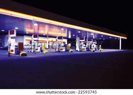Gas station by night - stock photo