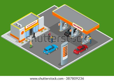 Gas station 3d isometric. Gas station concept. Gas station flat  illustration. Fuel pump, car, shop, oil station, gasoline. Gas station JPG.  Refilling cleaning shopping service.  - stock photo