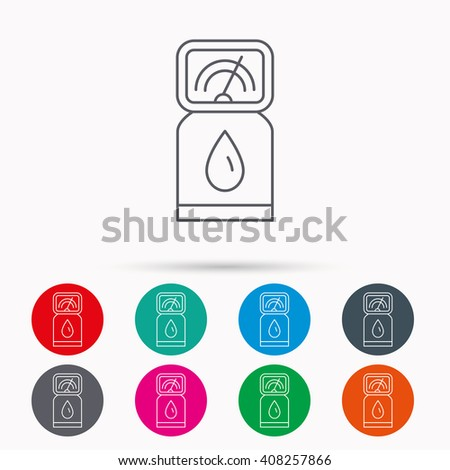 Gas station icon. Petrol fuel pump sign. Linear icons in circles on white background. - stock photo