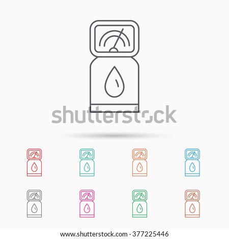 Gas station icon. Petrol fuel pump sign. Linear icons on white background. - stock photo