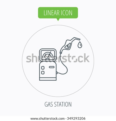 Gas station icon. Petrol fuel pump sign. Linear outline circle button.  - stock photo