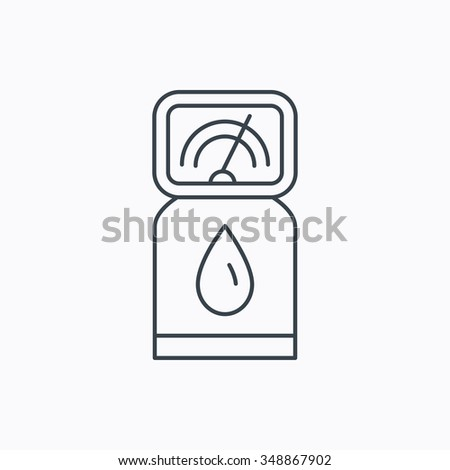 Gas station icon. Petrol fuel pump sign. Linear outline icon on white background.  - stock photo