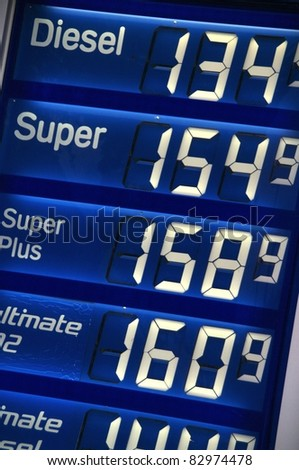 Gas station price sign - stock photo