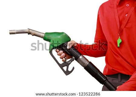 Gas Station Worker and service on white background - stock photo