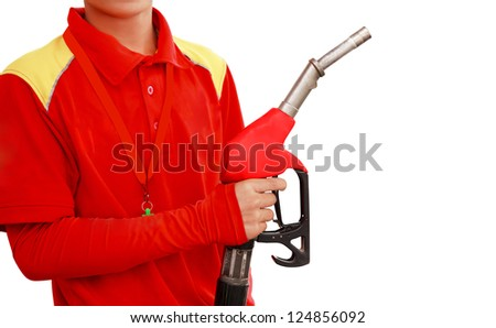Gas Station Worker on white background